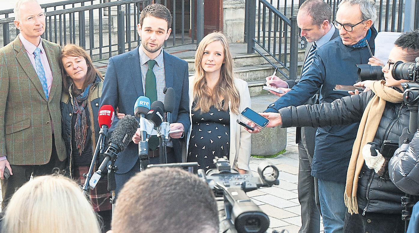 Colin, Karen, Daniel and Amy McArthur facing the cameras outside the High Court in Belfast | photo: The Christian Institute