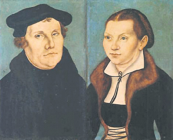 Martin Luther and his wife Katherina Von Bora by the artist Cranach