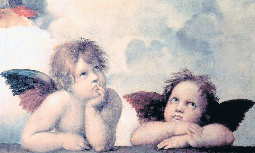 Lackadaisical cherubs – detail from Sistine Madonna by Michelangelo | photo: Wiki