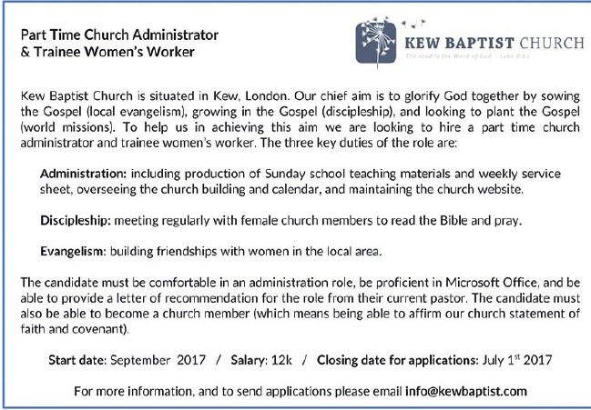 church administrator kew baptist church - Church Administrator Salary